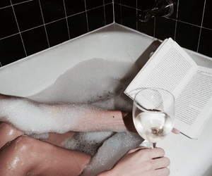 bath, books, and drinks image