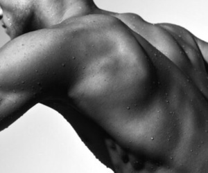 back, muscles, and black and white image
