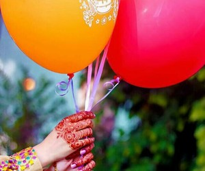 balloons, girl, and hand image
