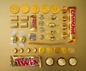 candy, gold, and sweet image