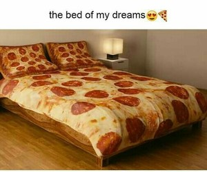pizza and bed image