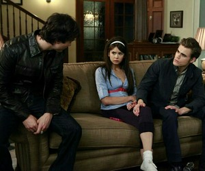 the vampire diaries, elena gilbert, and damon salvatore image