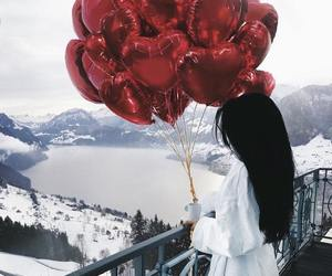 girl, balloons, and snow image