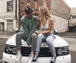 car, girl, and friends image