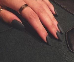 black, black nails, and long nails image