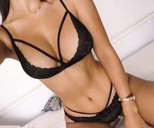 black lingerie, fit, and lingerie image
