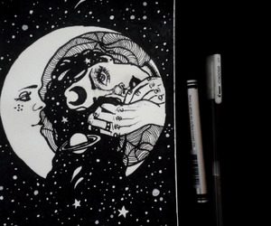 aesthetic, drawing, and moon image