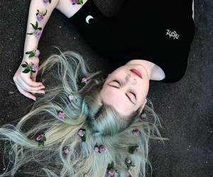 flowers, girl, and hair image