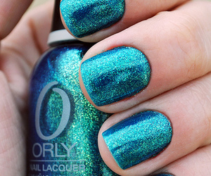 glitter, teal, and nails image