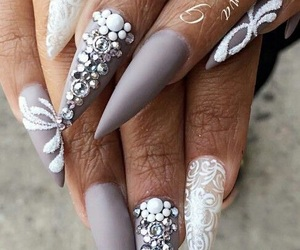 grey, nails, and stiletto image