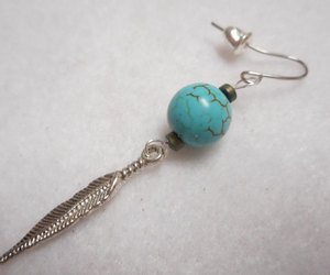 etsy, turquoise, and feather earring image