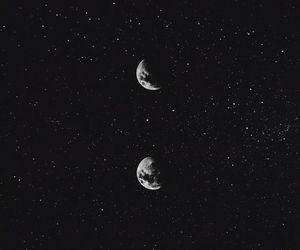 moon, stars, and black image