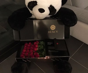panda, roses, and 🐼 image