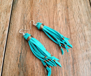 earings, wire wrapped, and turquoise earrings image