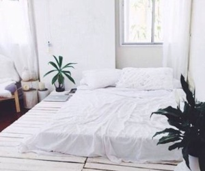 bedroom, green, and plants image