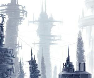 city, light, and white image