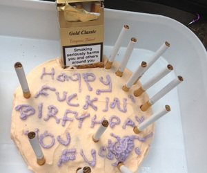 cake, cigarette, and birthday image