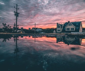sky, sunset, and house image