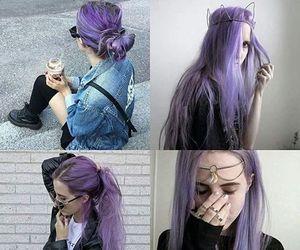 purple hair, hair, and purple image