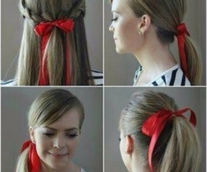 hair, hairstyle, and ribbon image