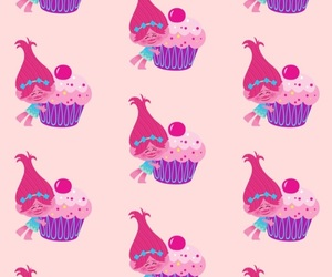 cupcake, pink, and trolls image