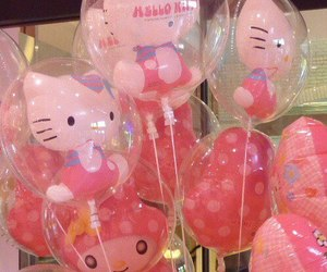 hello kitty, pink, and balloons image