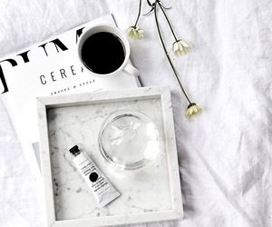 white, book, and coffee image