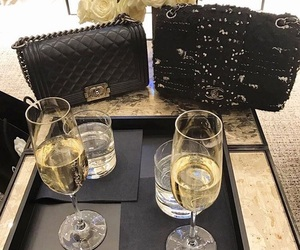 champagne, chanel, and drink image