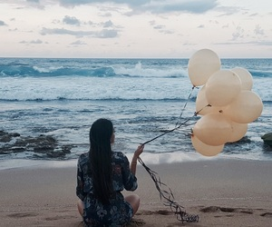 balloons, beach, and beach babe image