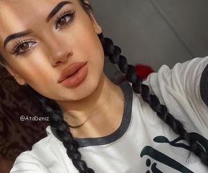 braid, eyebrow, and lipstick image