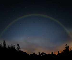rainbow, night, and moon image