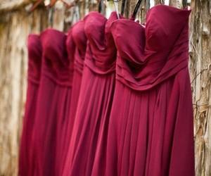 bridesmaids, maroon, and wedding image
