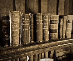 black and white, books, and classic image