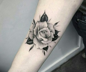 art, black and white, and rose image