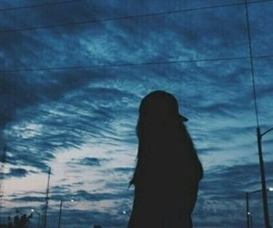 sky, girl, and grunge image