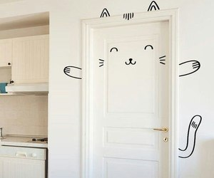 cat, door, and diy image
