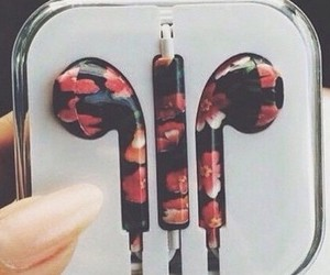 flowers, headphones, and music image