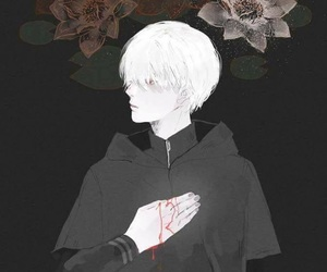 anime, white hair, and dark image