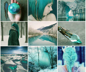 background, girl, and blue image