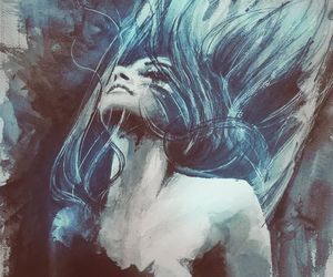 art, blue hair, and pain image