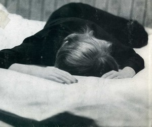 bed, black and white, and photography image