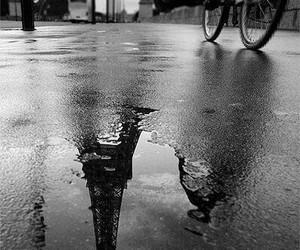 paris, black and white, and rain image