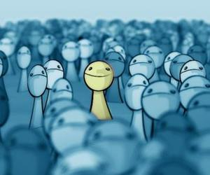 alone, crowd, and happy image