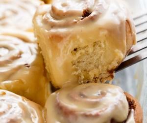 breakfast, cinnamon rolls, and dessert image