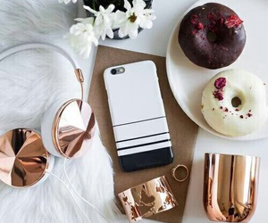 headphones, donuts, and gold image