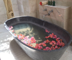 flowers, bath, and home image
