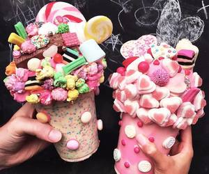 candy, milkshake, and popcorn image