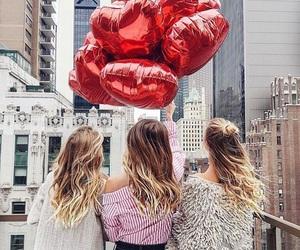 girl, balloons, and bff image