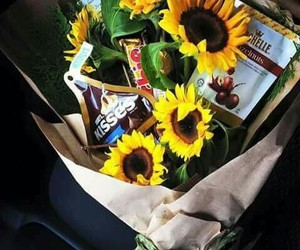 gift, sunflower, and chocolate image