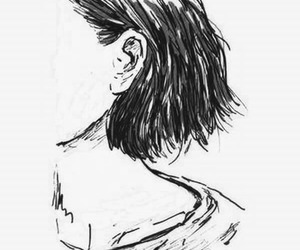 black and white, drawing, and short hair image
